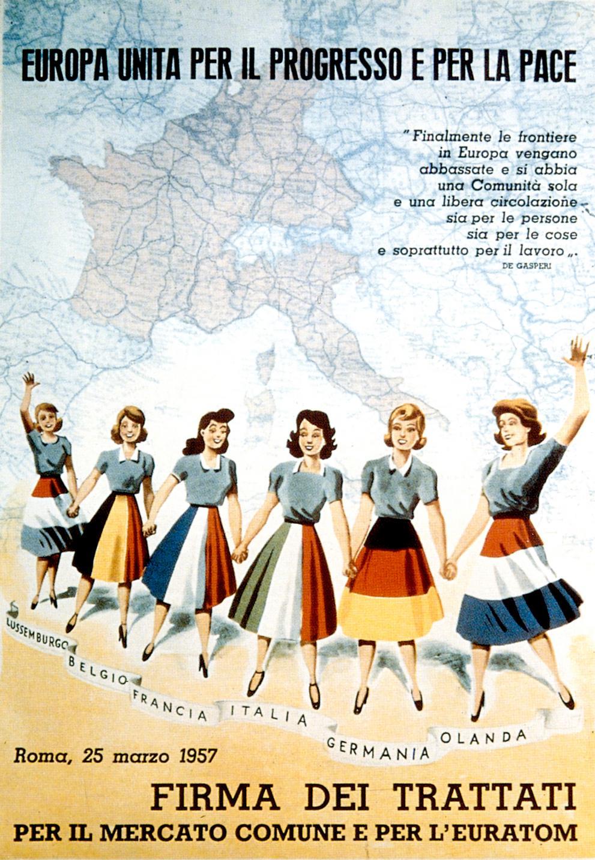 Affiche italienne célébrant la signature des Traités de Rome